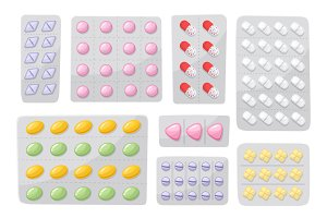 Packaging for drugs ,painkillers, antibiotics, vitamins and aspirin tablets. Set of blisters icons with pills and capsules. Vector illustrations of pack isolated on white background