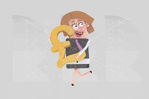 Businesswoman holding Pound symbol