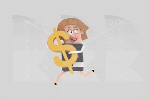 Businesswoman holding Dollar symbol