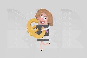 Businesswoman holding Euro symbol