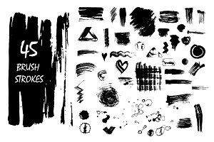 45 vector brush strokes