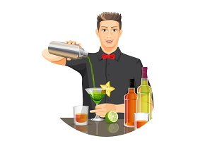 Male bartender making cocktail vector flat realistic picture