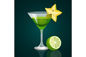Green cocktail with lime part below on dark background