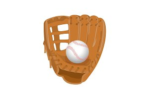 Leather glove, white leather ball in realistic style