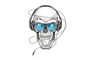 smiling skull listening a music in headphones