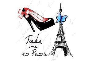 Vintage poster with woman shoe and eiffel tower