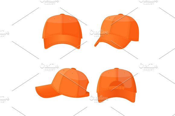 Baseball White Caps In Front Side And Back View Isolated