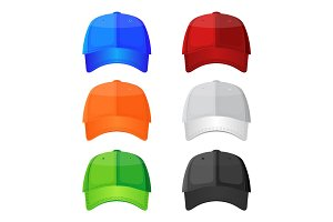 Colorful baseball caps isolated on white background. Stylish sportive headwea