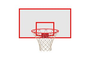 Basketball hoop on backboard isolated on white background