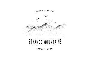 Old label with mountains