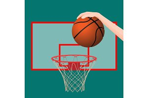 Hand throwing ball in basketball hoop colorful picture