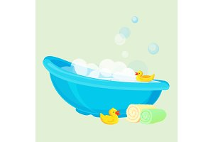 Bathtub for child full of bubbles and with duck toys