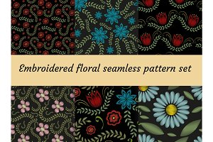 Embroidery trendy floral seamless pattern. Flowers ornament endless background, texture. Vector illustration