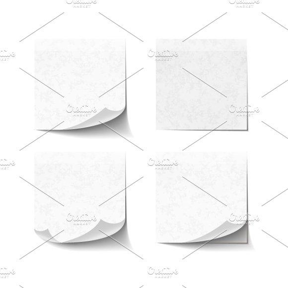 Set Of Blank White Sticky Notes