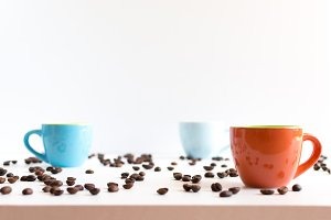 Coffee cups close up