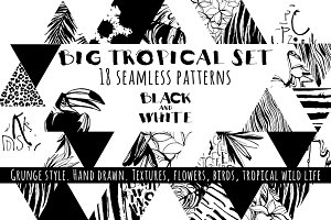 18 handdrawn tropical b&w patterns