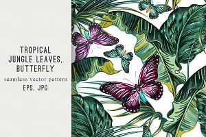 Tropical leaves,butterflies pattern
