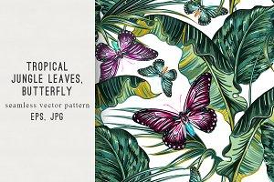 Tropical leaves,butterflies pattern