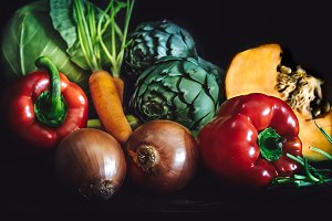 Fresh vegetables on dark background