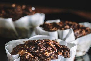 Homemade chocolate muffins.