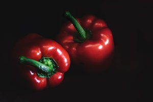 Red bell peppers. Vintage style