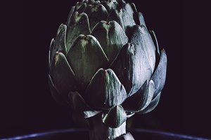 Artichoke on black background