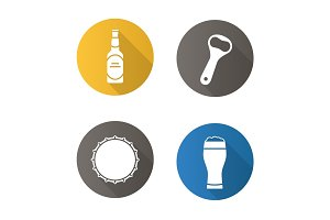 Beer flat design long shadow icons set