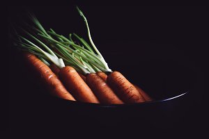 Bundle of carrots. Rustic style