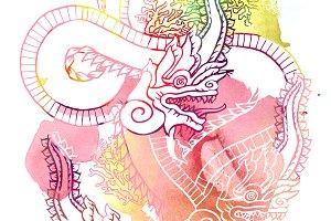 king naga thai dragon print