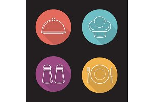 Restaurant kitchen items. Flat linear long shadow icons set