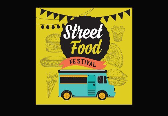 Street food festival poster in Illustrations