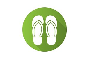 Flip flops flat design long shadow icon