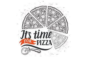 Pizza logo, italian cuisine
