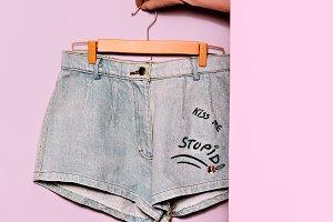Minimal fashion. Denim Shorts