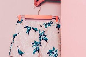 Minimal fashion. Shorts floral