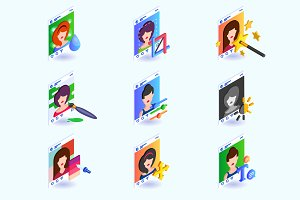 Photo edit icons for social network