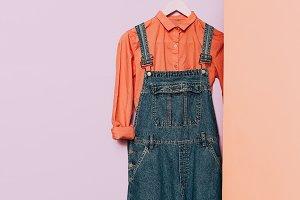 Hipster fashion. Pink shirt