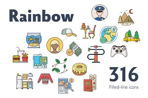 Rainbow — Filled-Line Icons Bundle