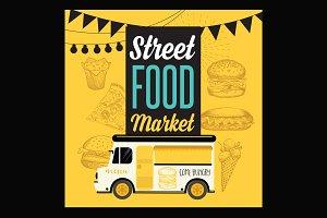 Street food market poster