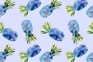 Blue watercolor pineapples pattern