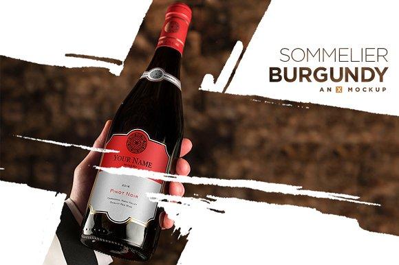 Sommelier Wine Mockup Burgundy Red