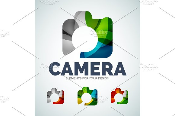 Vector photo camera abstract icons