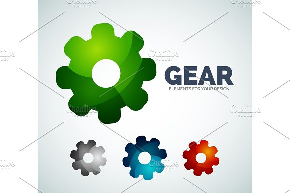Vector industrial gear abstract icons