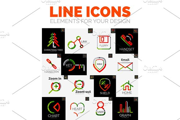 Vector set of web linear thin line icons