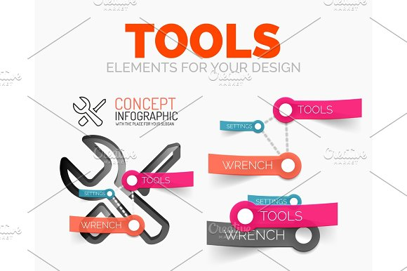 Vector diagram elements set of tools concept icons with plastic paper style stickers