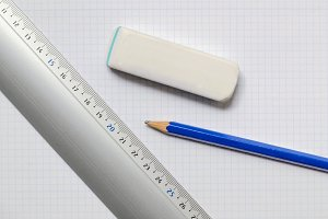 ruler eraser and pencil