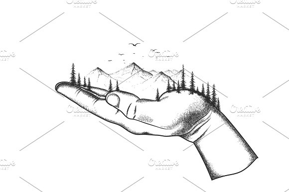 mountain and forest are located on a hand