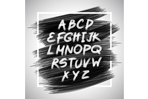 Vector handwritten brush alphabet