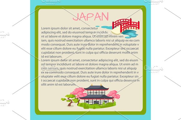 Japan Framed Vector Touristic Banner with Text in Illustrations