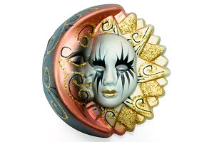 Venetian mask sun and moon